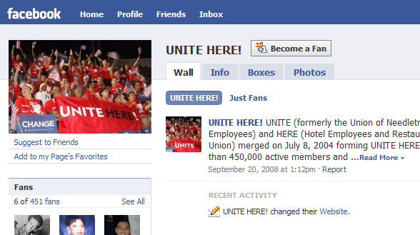 UNITE HERE uses a Facebook Page rather than a group