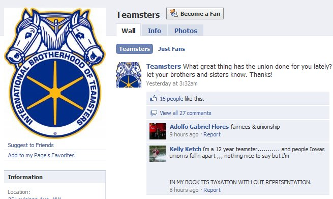 The Teamsters have an open Facebook Page.