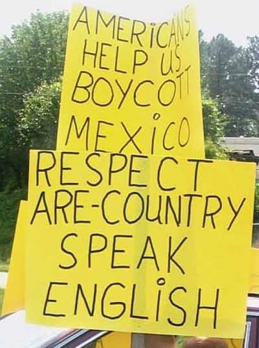Respect are country - speak English