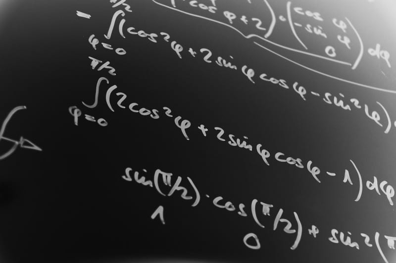 Complicated blackboard with mathematics