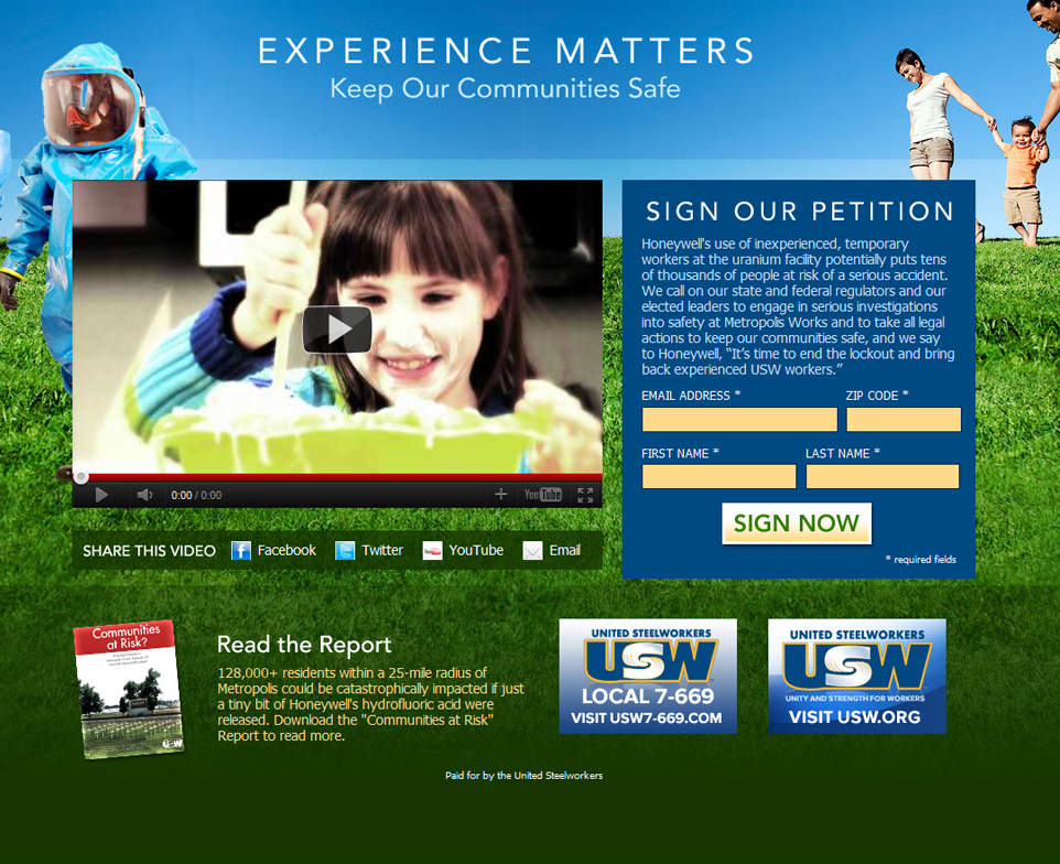 Experience Matters - USW campaign site