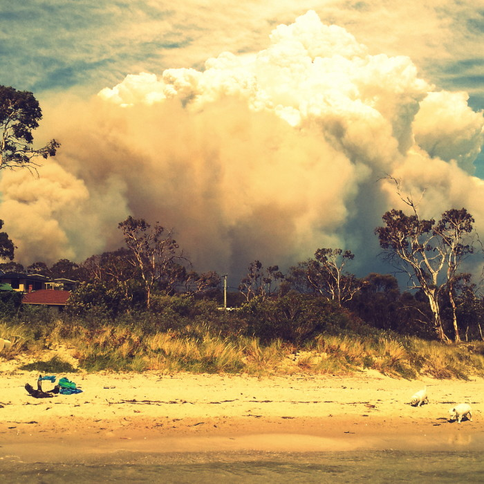 Smoke from the fires that destroyed Dunalley, Tasmania, 2013