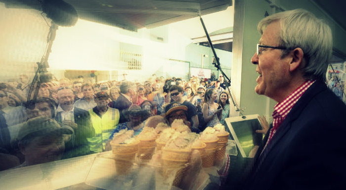 Kevin Rudd - election 2013 - handing out icecreams