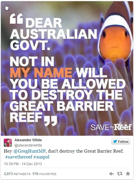Alex White - Twitter - viral tweet #savethereef