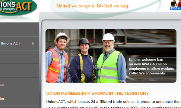 Unions ACT using a Stockphoto