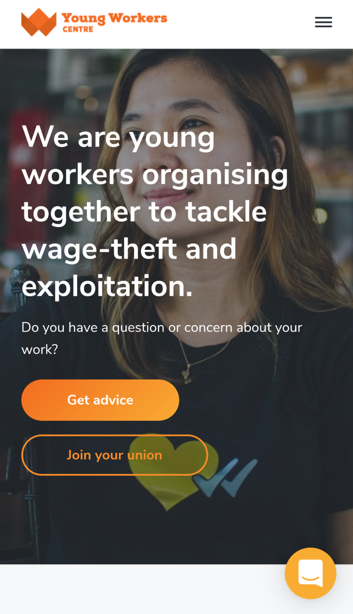 Young Workers Centre website